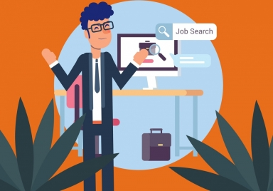 job search background male staff computer icons decor
