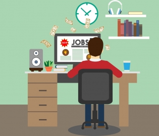 jobs advertising theme working space decoration