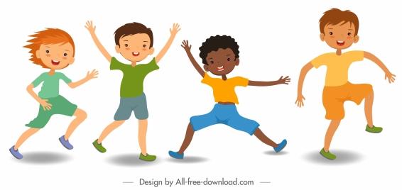 joyful boys icons playful gestures cute cartoon characters