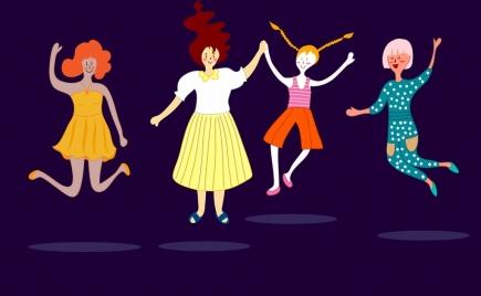 joyful women icons cartoon characters colored design