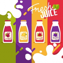 juice advertising background bottle icons colorful flat design