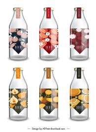 juice bottle label templates shiny sketch classic flat