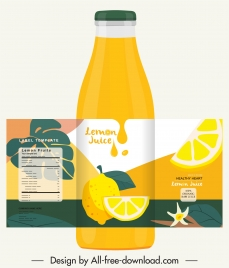 juice bottle template bright yellow decor classic design
