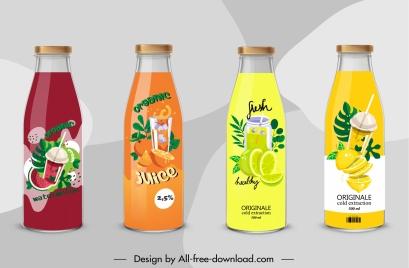 juice label template elegant colorful fruits sketch