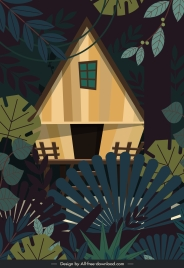 jungle cottage painting colored classic design