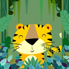 jungle drawing stylized tiger icon multicolored cartoon design