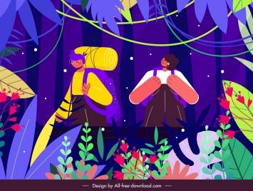 jungle exploration painting colorful cartoon sketch
