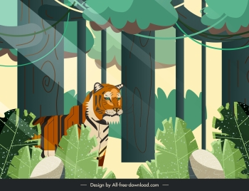 jungle painting trees tiger sketch colorful classic design