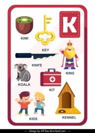 k alphabet education template colorful symbols outline