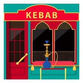 kebab restaurant facade design with muslim architecture