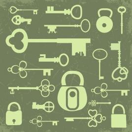 key lock icons collection flat retro design