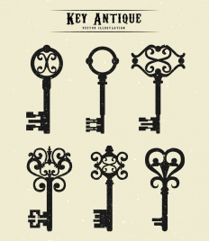 keys icons collection flat retro design