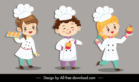 kid cook icons cute cartoon characters sketch
