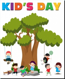 kid day banner colored cartoon playful children icons