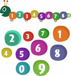 kid education background worm icon colorful numbering circles decor