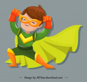kid hero icon cute cartoon character