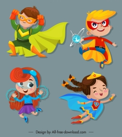 kid hero icons cute cartoon characters sketch