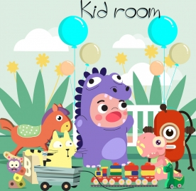 kid room advertising background child toy icons decor
