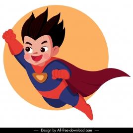 kid superman icon flying sketch cute cartoon character