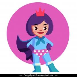 kid superwoman icon cute cartoon character