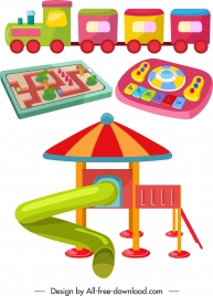 kid toy icons colorful flat 3d sketch