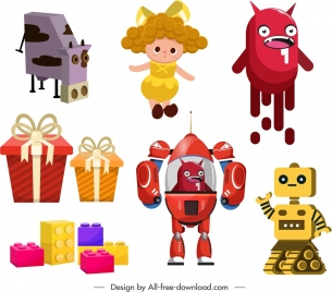 kid toys icons colorful contemporary objects sketch