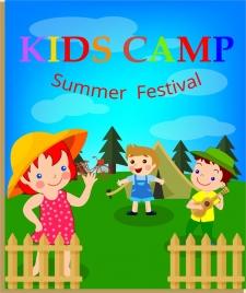 kids camp banner children icons multicolored cartoon design