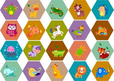 kids education sets isolated with cute animals and birds