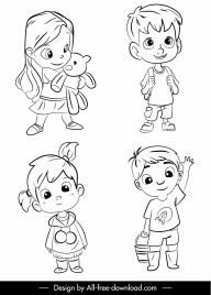 kids icons cute cartoon sketch black white handdrawn