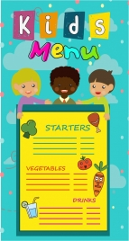 kids menu decoration children design with colorful style