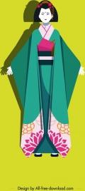 kimono girl icon colored cartoon character