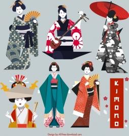 kimono girl icons colored classical design