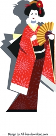 kimono girl painting colorful classical design cartoon character