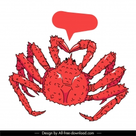 king crab icon red decor classical handdrawn