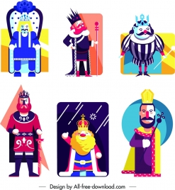 king icons collection colored cartoon character sketch