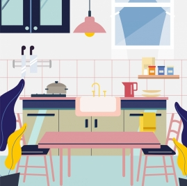 kitchen background furniture utensils icons multicolored design