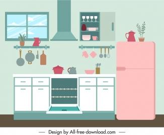 kitchen decor template elegant contemporary flat sketch