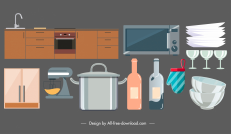 kitchen design elements flat objects sketch