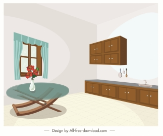 kitchen dining room drawing contemporary 3d sketch