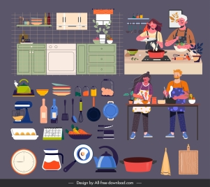 kitchen icons colorful objects cooks sketch