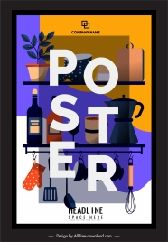 kitchen poster appliance shelf sketch colorful classic