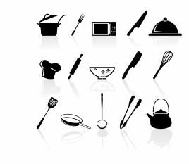 Kitchen utensil icons set