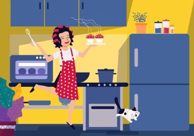 kitchen work background happy housewife icon cartoon design