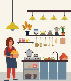 kitchen work drawing housewife utensil icons colored cartoon