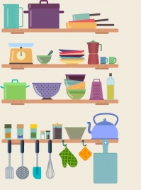 kitchenware design elements multicolored object icons