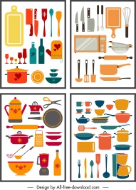 kitchenware utensils background templates colorful flat objects sketch
