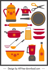 kitchenwares icons colored classical flat sketch