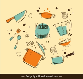 kitchenwares icons colored flat handdrawn dynamic sketch