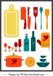 kitchenwares icons colorful flat classic sketch