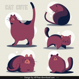 kitties icons dark pink decor classical design
